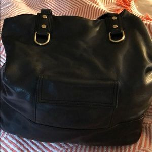 Black Oversized Leather Hobo JCrew Bag